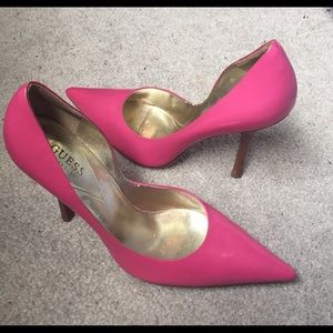 Guess Carrie Smooth Pink Leather Pump Heels.